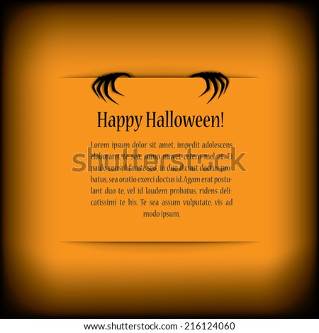 Halloween card design with zombie hands reaching from background and space for message or greeting. Eps10 vector illustration. - stock vector