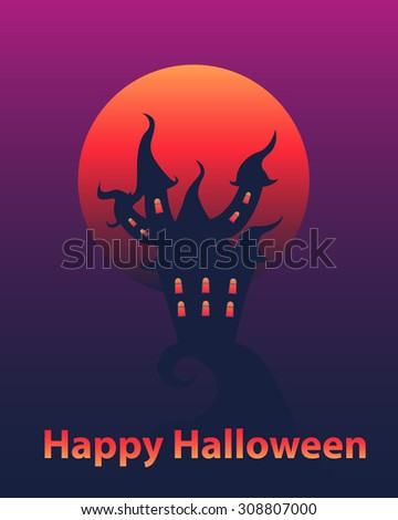 Halloween card. Gloomy house and a bloody moon. Vector illustration - stock vector