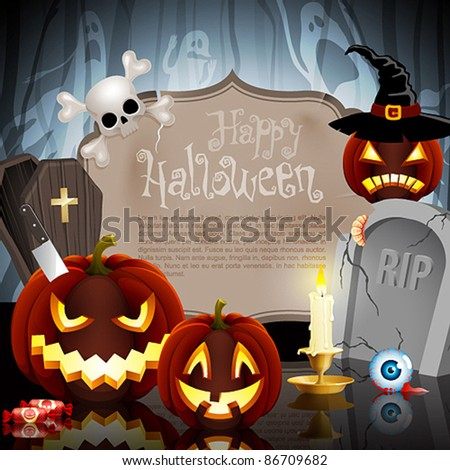 Halloween card on forest background with different objects and place for text. Check my portfolio for raster version. - stock vector