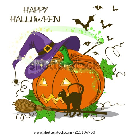Halloween card or invitation with Jack O Lantern pumpkin , witch hat, cat, broom and magic wand - stock vector