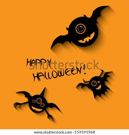 Halloween card or postcard design with happy smile monsters and space for text. Eps 10 vector illustration. - stock vector
