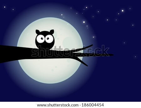 halloween card, silhouette of owl with large eyes sitting on a branch against a full moon and starry night sky - stock vector