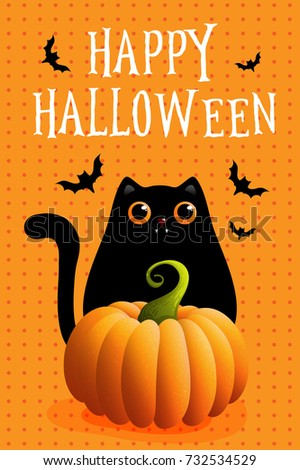 Halloween Card, Vector Illustrations With Lettering, Pumpkin, Black Cat.  Sale Banner,
