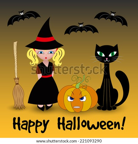 Halloween card with cat, pumpkin and little witch. Vector illustration - stock vector