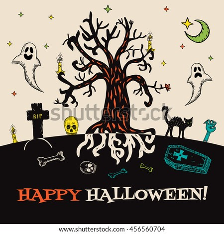 Halloween card with hand drawn cemetery landscape and scary elements on beige background. Vector hand drawn illustration. - stock vector
