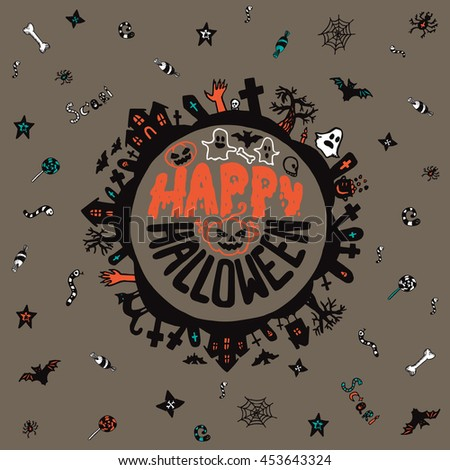 Halloween card with hand drawn lettering, cemetery landscape and scary elements on grey background. Vector hand drawn illustration. - stock vector