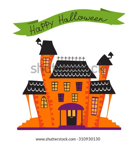 Halloween card with haunted house. vector illustration - stock vector