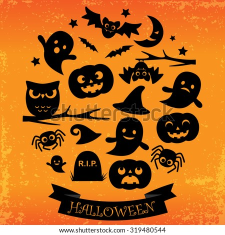 Halloween card with ribbon. Black icons in circle on grunge orange background. - stock vector