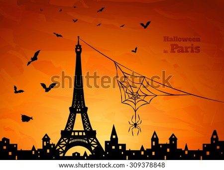 Halloween card with silhouette of Paris, spider on spiderweb and  flying  bats on orange sky background, vector illustration - stock vector