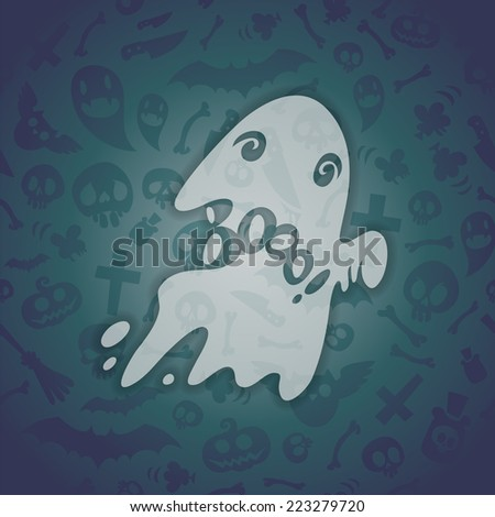 Halloween Card with Spooky Boo. Editable pattern in swatches. - stock vector