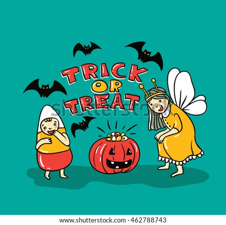 Halloween card with stylish lettering - ' Trick or treat '. Vector Illustration theme with phrase, pumpkin, bats and children.