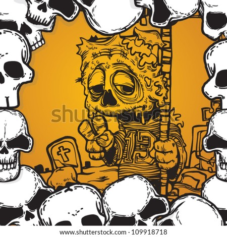 halloween cards background with zombie - stock vector