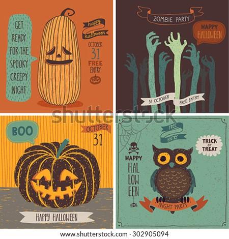 Halloween Cards set. Vector illustration. - stock vector