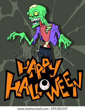 Halloween cartoon background with a scary zombie character