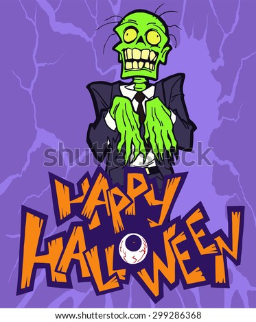 Halloween cartoon greeting card with a spooky zombie character