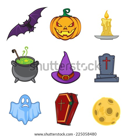 Halloween cartoon icon objects. Bright colorful collection. Eps 10 vector illustration. - stock vector