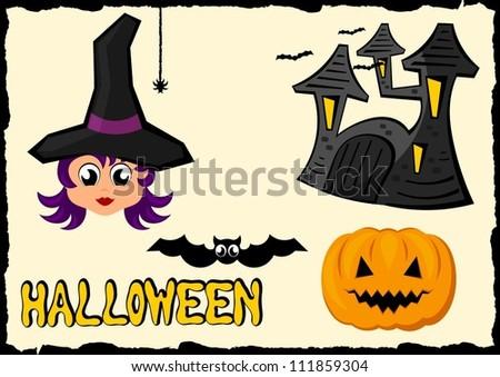 halloween cartoon icon set - stock vector