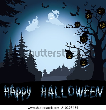 Halloween cartoon landscape with trees silhouettes, ghosts, pumpkins and bats. Vector - stock vector