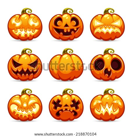 Halloween Cartoon Pumpkins Icons Set. In the EPS file each element is grouped separately. - stock vector