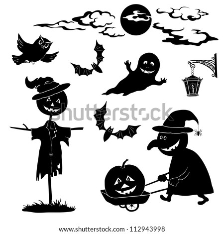 Halloween cartoon, set black silhouette on white background: witch and pumpkin in trolley, ghost, owl, bat, scarecrow, lantern, moon and clouds. Vector - stock vector