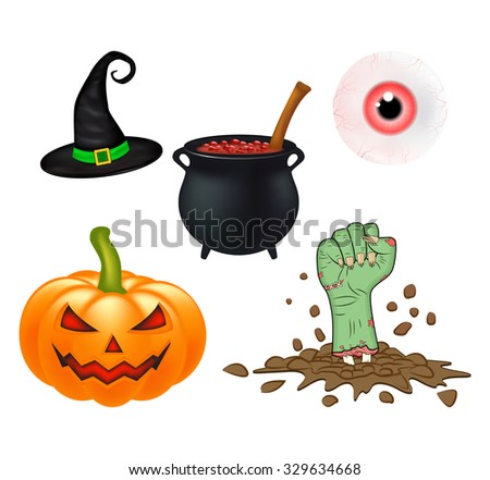 Halloween cartoon vector set, symbols collection. set of vector objects, pumpkins, witch hat cauldron, and more. Vector Set of cute Halloween elements, objects and icons for your design - stock vector