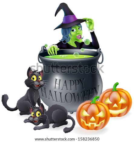 Halloween cartoon witch scene with a witch, her black cats, Happy Halloween cauldron and pumpkins. - stock vector