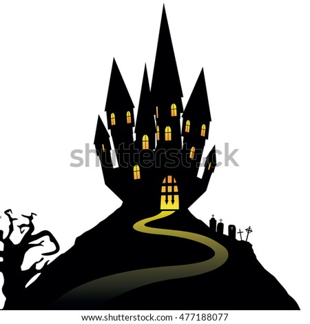 Halloween castle on hill isolated on white background, vector illustration