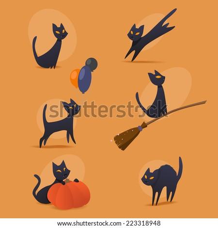 halloween cats - stock vector