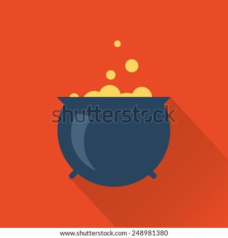 halloween cauldron icon - stock vector