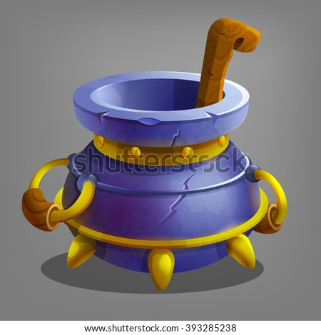 Halloween cauldron. Vector illustration. - stock vector