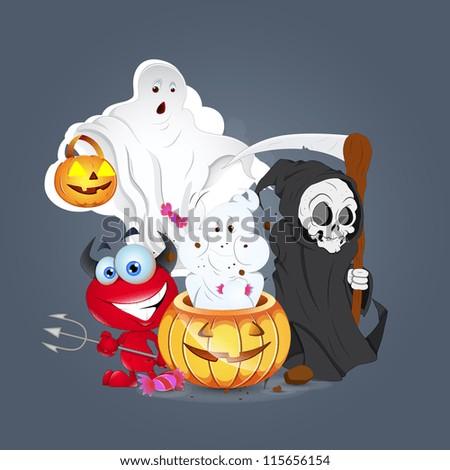 Halloween Celebartion Monsters - stock vector