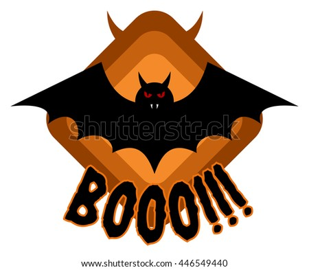 Halloween celebration badge, label or logo with vampire bat and boo text isolated - stock vector