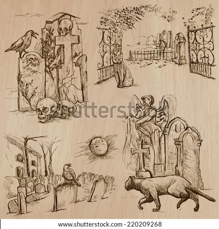 Halloween (Cemeteries) - Collection (no.1) of an hand drawn illustrations. Description: Each drawing comprise of three layer of outlines, the colored background is isolated.
