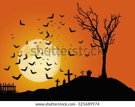 Halloween cemetery background. - stock vector