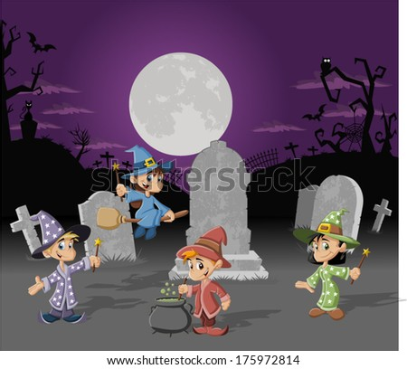 Halloween cemetery background with tombs and cartoon wizard boys and witch girls. Halloween costume. - stock vector