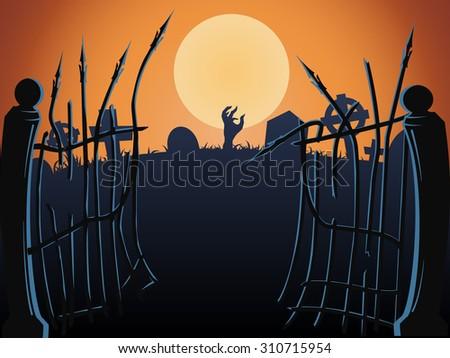 Halloween cemetery gates, vector - stock vector