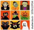 Halloween Character Avatars - stock photo