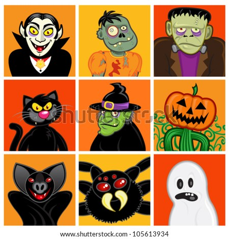Halloween Character Avatars - stock vector