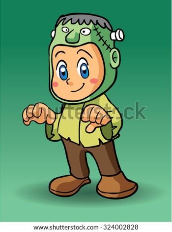 Halloween character frankenstein - stock vector