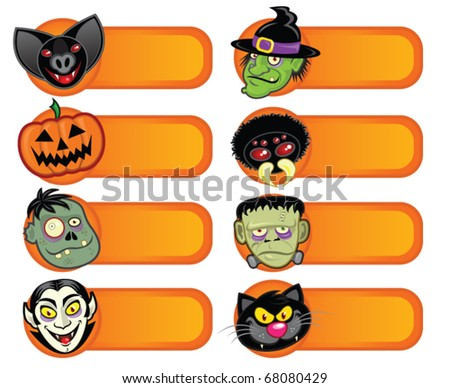 Halloween Character Labels Collection - stock vector