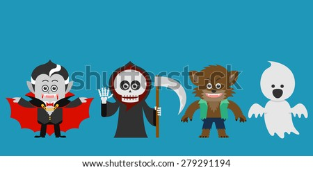 Halloween Character set. Halloween Party costume. flat design. vector illustration - stock vector