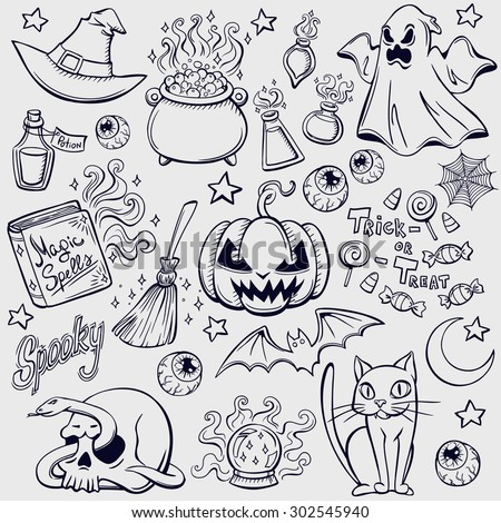 Halloween characters and attributes doodle set. Vector illustration. - stock vector