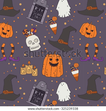 Halloween characters and attributes doodle set. Vector pattern. Pumpkins, headstone, witches hat and feet, candles, ghost, skull, candy, sweets, lettering - stock vector
