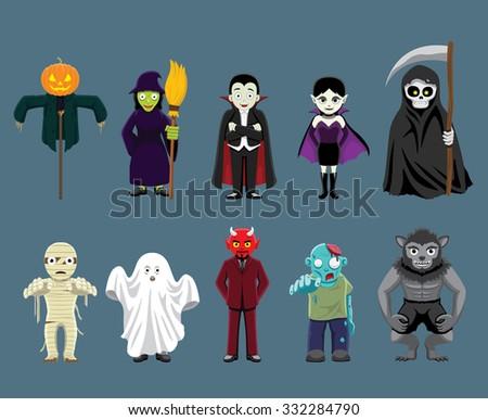 Halloween Characters Cartoon Vector Illustration - stock vector