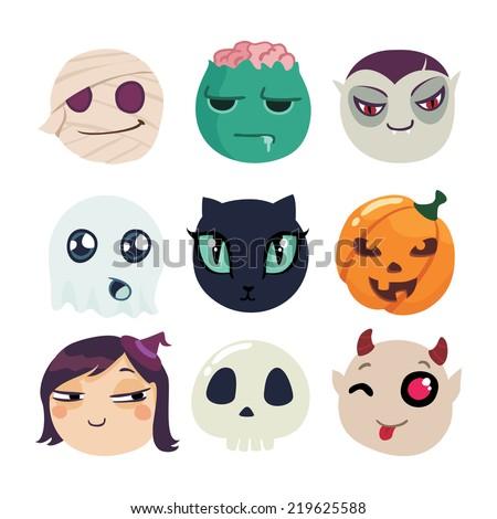 halloween characters funny vector set. cartoon icons - stock vector