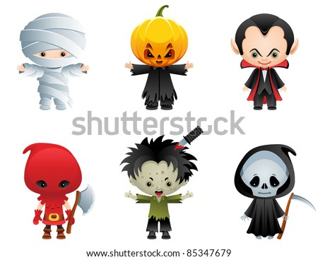 Halloween characters icon set - stock vector