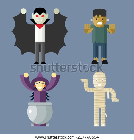 Halloween Characters Icons Set on Stylish Background Modern Flat Design Vector Illustration - stock vector