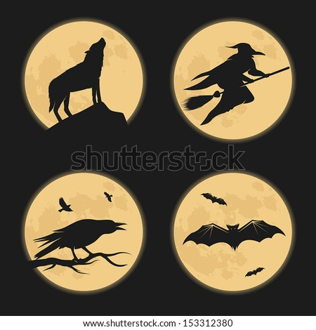 Halloween characters moonlight silhouettes - stock vector