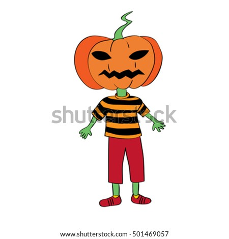 Halloween childish character mask representing a pumpkin, hand drawn original doodle illustration isolated on white