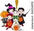 Halloween   children trick or treating in Halloween costume - stock vector
